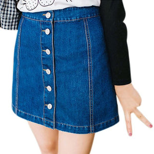 2018 New Fashion Summer Women Sexy Denim Skirts High Waist Front Single-breastedeavengifts-eavengifts