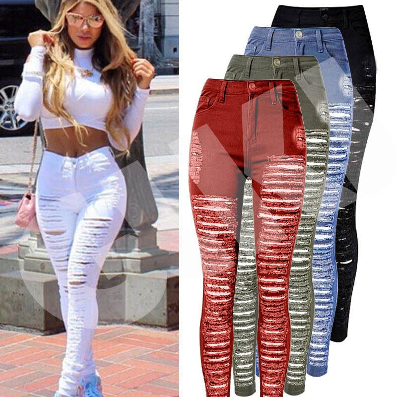 Sexy Women Destroyed Ripped Denim Jeans Skinny Hole Pants High Waist Stretcheavengifts-eavengifts