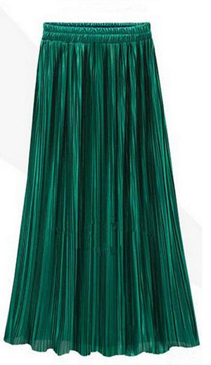 New Ladies Women Silky Long Maxi Skirts Pink Purple Green Silver Yelloweavengifts-eavengifts