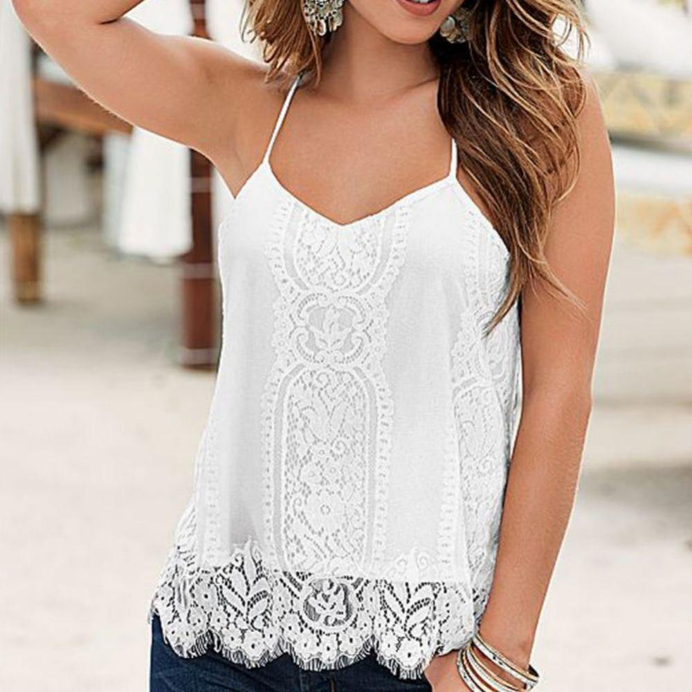 Summer Women Sexy Loose White T-shirt Casual Sleeveless Black Camis Lady Casualeavengifts-eavengifts
