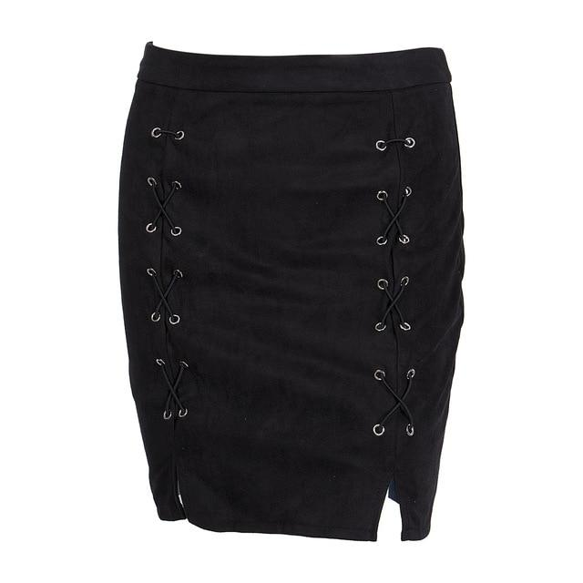 Women High Waist Lace Up Suede Leather Pocket Preppy Bodycon Mini Skirteavengifts-eavengifts