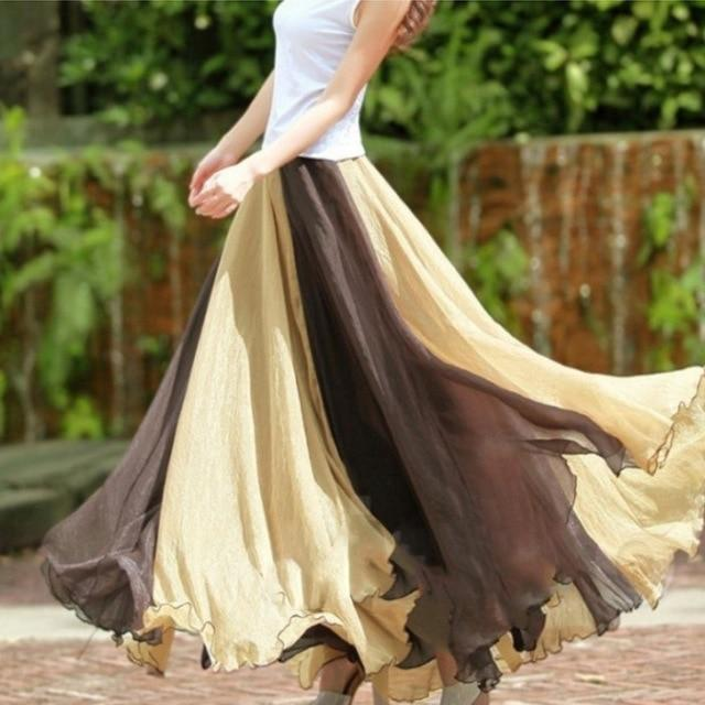 plus size 2018 Elegant Elastic High Waist Women Chiffon Long Boho Maxieavengifts-eavengifts