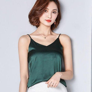 7 Colors 2018 Summer Tank Top Women Imitation Silk Sexy Sleeveless Basiceavengifts-eavengifts