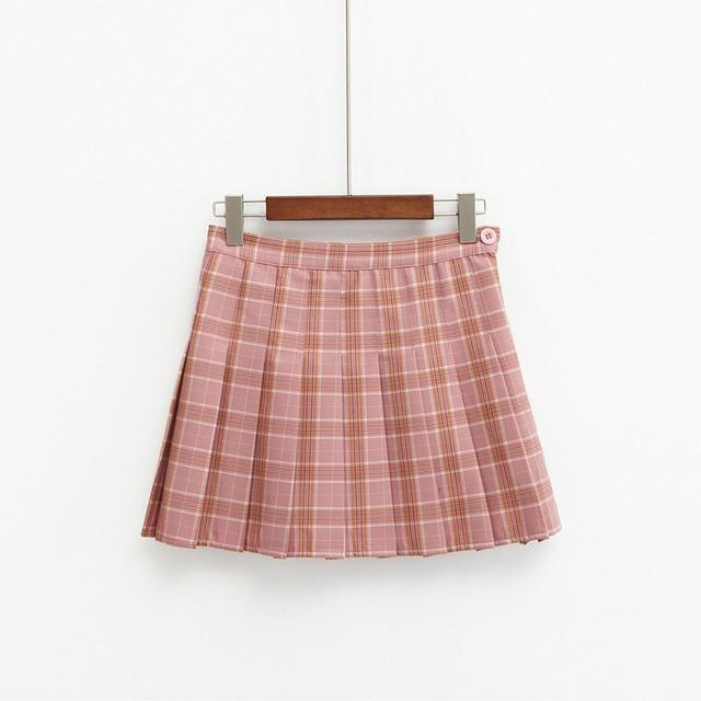 harajuku skirts womens 2018 korean summer style new plaid pleated skirt rockeavengifts-eavengifts