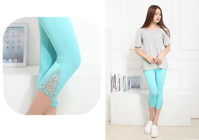 Hot Womens Crop 3/4 Length Leggings Clothes Capri Cropped Lace Summer Modaleavengifts-eavengifts