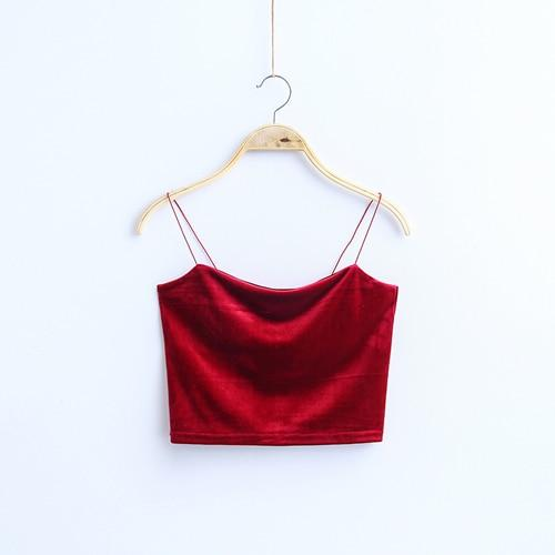 2018 Fashion Sexy Spaghetti Straps Tank Top Velvet Short Crop Top 7eavengifts-eavengifts