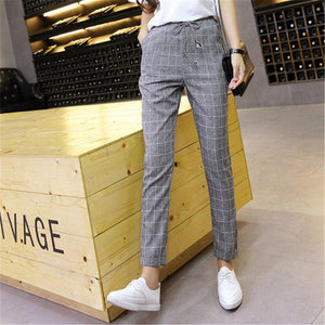 Plaid Harem Pants Trousers 2018 New Spring Summer Loose Casual Drawstring Elasticeavengifts-eavengifts