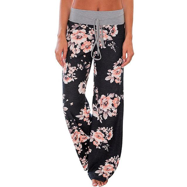 Ladies Floral Print Wide Leg Pants Women Long Drawstring Casual Loose Panteavengifts-eavengifts