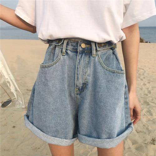 Denim Vintage Light Blue Solid Fashion High Waist Simple 2018 Neweavengifts-eavengifts