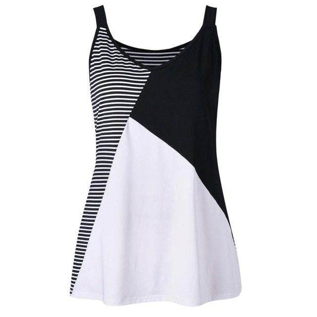 Plus Size 5XL Summer Tank Top Womens Striped Color Block O Neckeavengifts-eavengifts