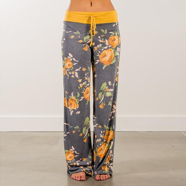 Causal Women Autumn Flower Print Pants 2018 Drawstring Wide Leg Pants Looseeavengifts-eavengifts