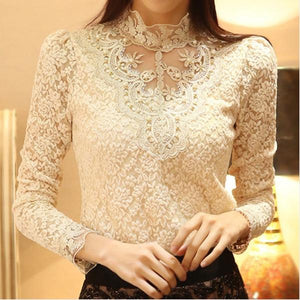 2018 new spring women elegant chic lace beading splicing stand collar blouseeavengifts-eavengifts