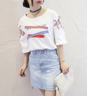 Harajuku Style Woman T shirt Spring Summer New Style Letters Print Shorteavengifts-eavengifts