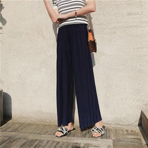 2018 Spring Summer Pants High Waist Pleated Wide Leg Pants Women Solideavengifts-eavengifts