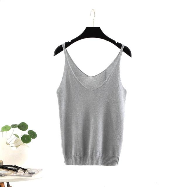 Women Sexy Knitted Tank Tops Thread Vest Sequined V-neck Solid Fitness Sweateavengifts-eavengifts