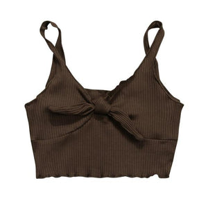 2018 Sexy Pure Color Spaghetti Strap Crop Top Women Back Bow Camieavengifts-eavengifts