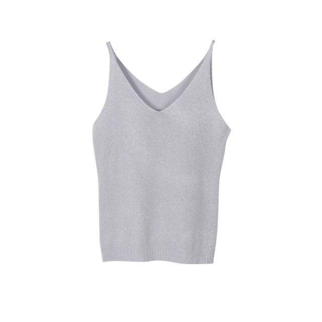 Sexy Women Fashion Summer Icecream Camisole Bruiser Crop Top Glittering Knitting Vesteavengifts-eavengifts