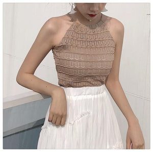 Women Slim Knitting Halter Neck Hollow Out Camisole Tops Female Crop Tankseavengifts-eavengifts