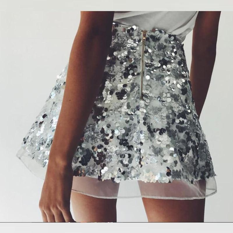 2018 Fashion Brand Women Sequins Skirt Gold Sliver Color Mini Skirtseavengifts-eavengifts