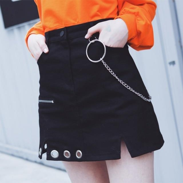 Harajuku Skirt Irregular Design Retro Ring Chain Decorative High Waist Holloeeavengifts-eavengifts
