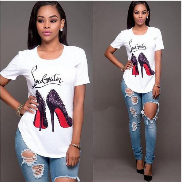T High Heels Print Funny Letter Summer T-shirt Women's Princess Short Sleeveeavengifts-eavengifts