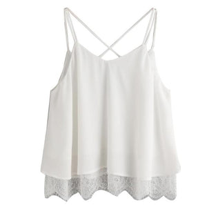 FEITONG Woman Summer Tops 2017 Chiffon White Camis Lace Vest Top Sleevelesseavengifts-eavengifts