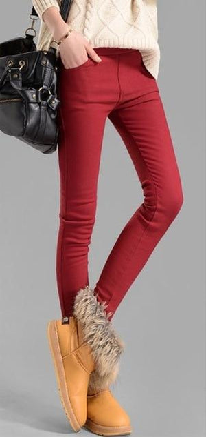 2018 autumn winter warm skinny pencil pants women velvet pants casual solideavengifts-eavengifts