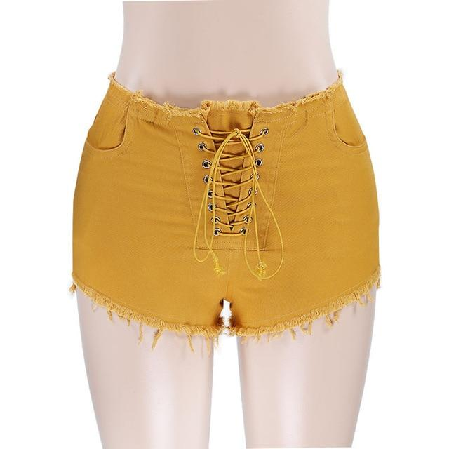 women sexy skinny waist tie up bandage tassel denim shorts female slimeavengifts-eavengifts