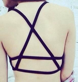 21 Designs.Sexy Women Cut Out Backless Crop Tops Bra Bustier.Back Cross Vesteavengifts-eavengifts