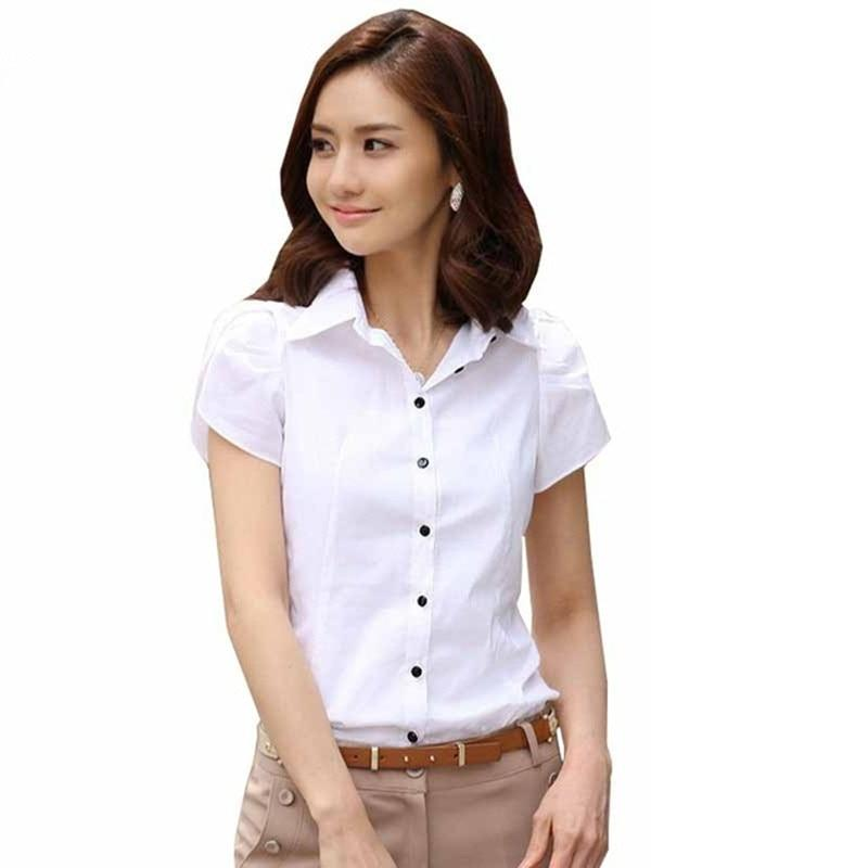 Fashion Women Short Sleeve Chiffon Shirt Turn-Down Collar Casual Female Tops Womeneavengifts-eavengifts