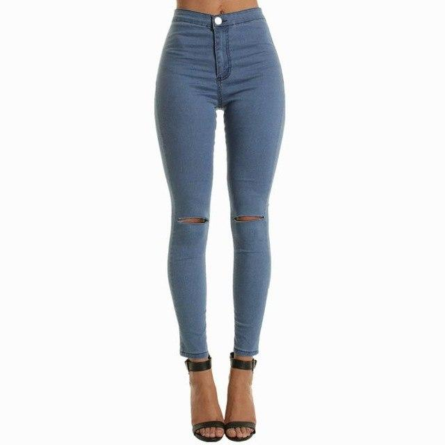 blue black white Sexy Elastic Hole Ripped Skinny Pencil Jeans Woman Higheavengifts-eavengifts