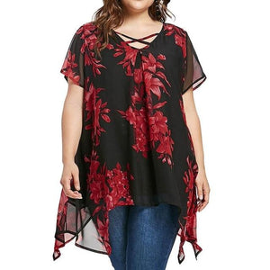 Plus Size 5XL 2018 Womens Tops and Blouses Chiffon Tunic Cross Floraleavengifts-eavengifts