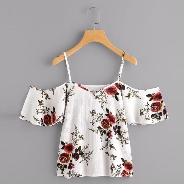 2018 Women Summer Printed Blouse Cold Shoulder Top gift foreavengifts-eavengifts