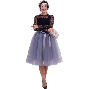 5 Layers Midi Tulle Skirts Womens Fashion TUTU Skirt Elegant Wedding Bridaleavengifts-eavengifts
