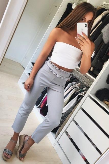 Suede high waist stright pants capris Women bottom streetwear casual pants 2018eavengifts-eavengifts