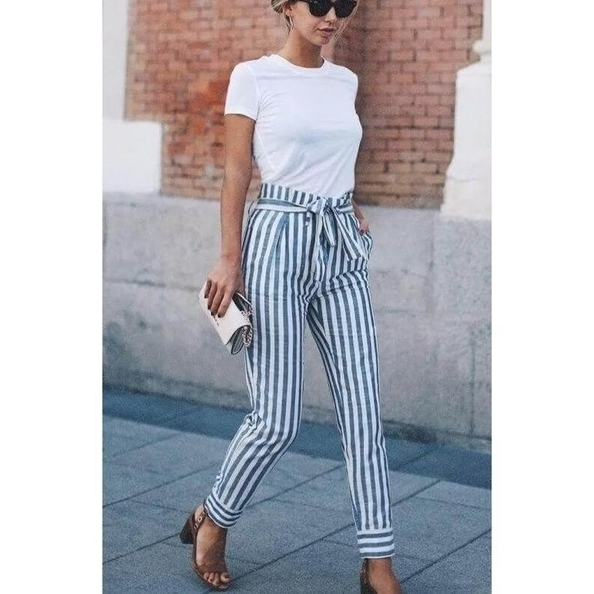 Streetwear striped harem pants loose casual pants women 2018 Summer trousers higheavengifts-eavengifts