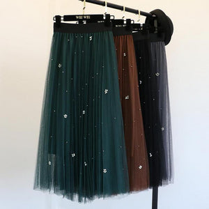 New Style Temperament Self-cultivation of Pearl Gauze Elastic High Waist Skirt Tulleeavengifts-eavengifts