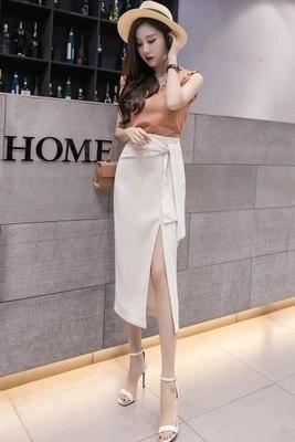 2018 Summer ladies office skirt split bow bandage irregular long skirts womenseavengifts-eavengifts