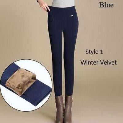 Winter Fleece Warm Women Casual Pencil Pant Black Red Blue Long Trouserseavengifts-eavengifts