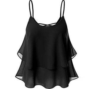 Sexy Women Tanks Camis Sleeveless Solid Chiffon Ruffles Vintage Tee Tops Casualeavengifts-eavengifts