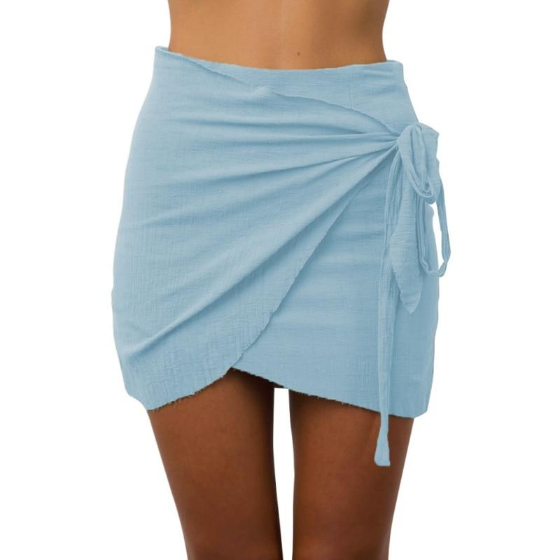 Fashion New Summer Women Tie up Beach Short Skirts Irregular High Waisteavengifts-eavengifts