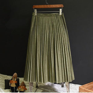 2018 New Fashion Autumn Women Suede Skirt Pink White Long Pleated Skirtseavengifts-eavengifts