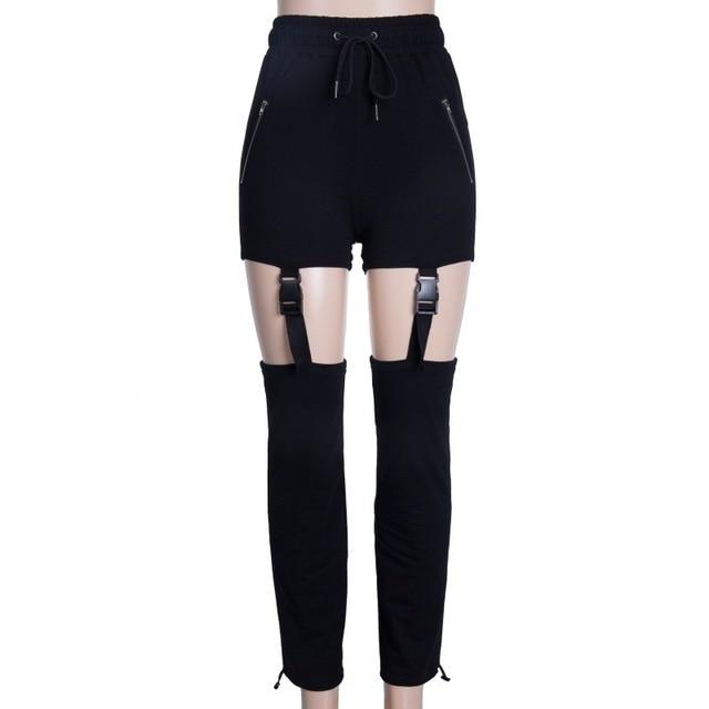 Women Zipper Pocket Pants Elastic High Waist Buckle Long Pants Hollow Outeavengifts-eavengifts