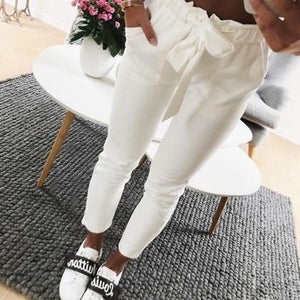 2018 fashion autumn women casual mid waist pants white suede bow tieeavengifts-eavengifts