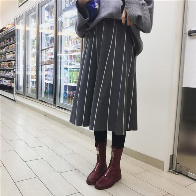 Skirts Womens Winter 2018 Korean Style Vintage Striped Slim A Line Higheavengifts-eavengifts