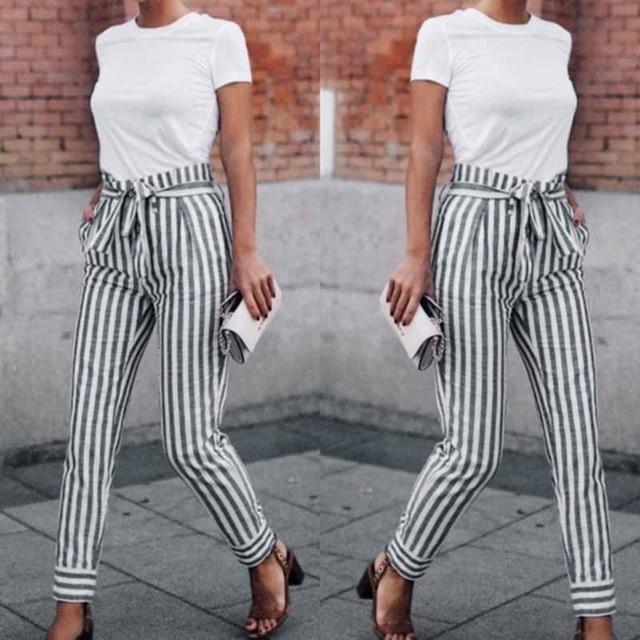 2018 new fashion spring and autumn women's casual waist Trousers striped patchworkeavengifts-eavengifts