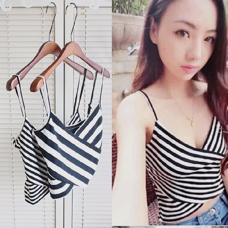 2018 Stripe Sexy Women Crop Tops Striped Corsets Vest Camisole Tank Topeavengifts-eavengifts