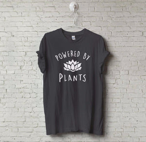 New Unisex Vegetarian Vegan POWERED BY PLANTS Tumblr T-Shirt Hipster Joke Teeeavengifts-eavengifts