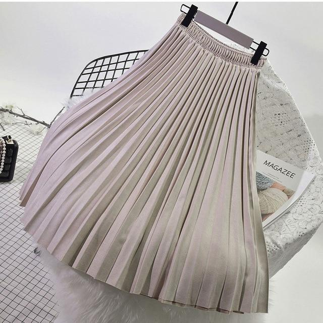 2018 High Quality Autumn Winter Women Suede Skirt Long Pleated Skirts Womenseavengifts-eavengifts