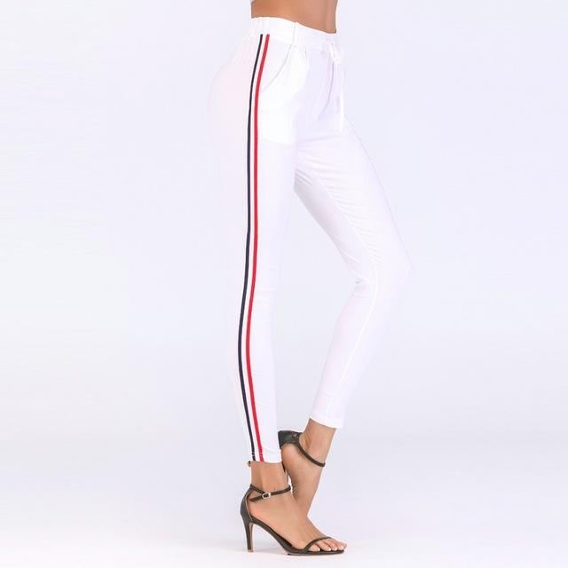 2018 Autumn joggers Women Side Striped Pants Trousers Casual High Elastic Waisteavengifts-eavengifts